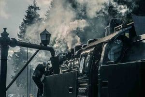 With the steam locomotive on the Brocken